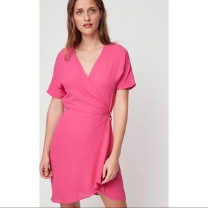 ARITZIA BABATON wallace dress mini wrap pink